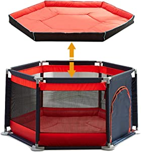 Portable Safety Kids Playpen Lightweight Assembled House 6-Panel Mesh Play Yard With Sturdy Bases Anti-Skid Pads Safety Fence For Toddlers Baby Child  Color Red