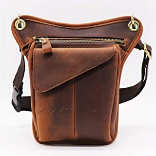 YWSCXMY-AU Genuine Leather Casual Multi-Functions Bag Men's Leg Thigh Waist Gun Pack Tool Kit Organizer Shoulder Messenger Bag (Color : Brown Crazy)