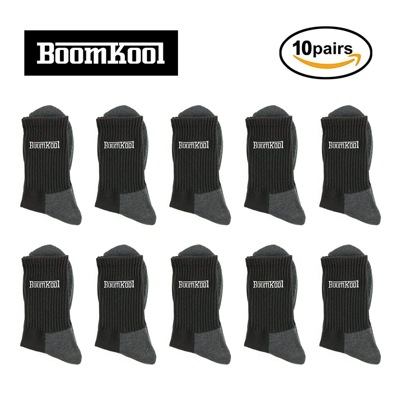 Men's Socks 10 Pack, Classic Fashion Cushion Crew Socks, Athletic Socks and Casual Socks for Suit by BoomKool