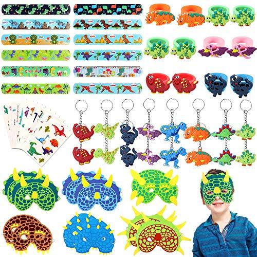 vamei 64 Piezas Fiesta Dinosaurio Niños Máscaras Pulseras de Juguete Bofetada Pulsera Llavero Dinosaurio Tatuaje Niños Anillos Niños Fiesta Cumpleaños Artículos