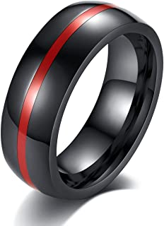 8mm Black Stainless Steel Thin Line Polished Finish Wedding Band Ring for Men Women, 4 Color