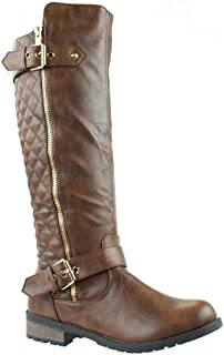 Forever Mango-21 Women's Winkle Back Shaft Side Zip Knee High Flat Riding Boots Brown 10