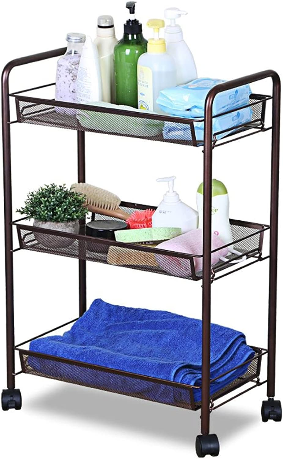 KHSKX Modern bathroom rack, pulley can move the vegetables in the kitchen floor to ceiling storage rack, storage consolidation 45.226.463cm bathroom small shelf , coffee