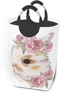 Panier à linge lapin blanc avec fleurs aquarelle grand sac à linge sale pliable grand panier de rangement en tissu paniers...