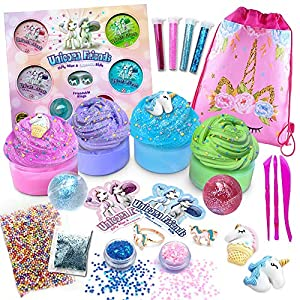 Alpine Summit Unicorn Slime Kit Supplies Stuff for Girls Making Slime [Everything in One Box] Includes Unicorn Backpack and Friendship Rings