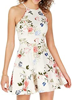 Speechless Juniors Tiered Halter Fit & Flare Dress in Pale Blush/Rose