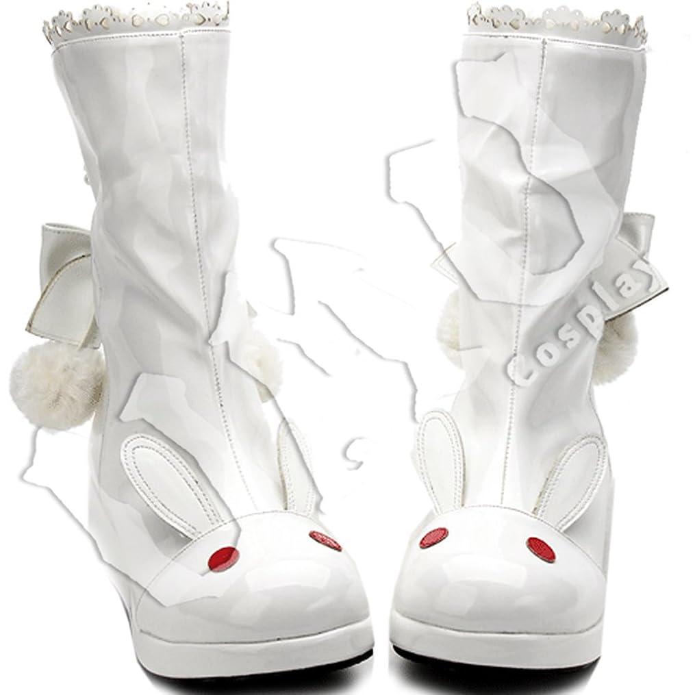 滝風枯渇【UMU】 足27cm LOLITA ロリータ しろ 赤 純白 雪兎 ウサギ リボン 毛玉 冬 風 靴 オーダーメイド(ヒール高、材質、靴色は変更可能!)