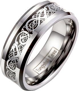 JewelryWe Gioielli Tungsteno Anello Banda Argento Nero, Irish Celtic Knot Drago Epoca Matrimonio, Anello Uomo Donna 8MM Pe...