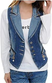 Women Casual Sleeveless Denim Jean Cropped Vest Jacket