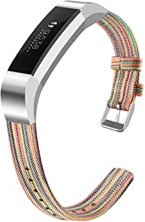 OenFoto Bands Compatible Fitbit Alta HR/Fitbit Alta/Ace, Adjustable Nylon Wristband Replacement Watch Band Strap Accessory Bracelet for Fitbit Alta HR/Fitbit Alta Smart Watch, Large Small