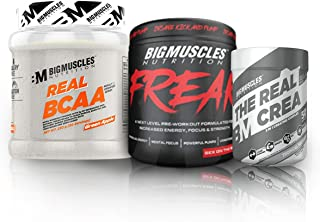 Bigmuscles Nutrition Workout Essentials Monthly Stack - 50 Servings (Real Bcaa -5g bcaa Intraworkout, Real Crea Flavoured - Increases Strength, Freak - Preworkout)