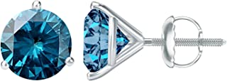 1/2-10 Carat Total Weight Blue Diamond Stud Earrings 3 Prong Screw Back
