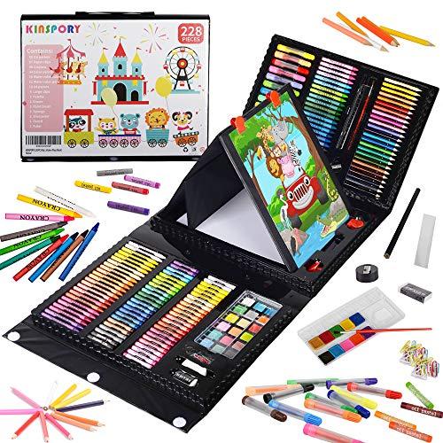 KINSPORY Juego de arte de caballete de doble cara de 228 piezas, kit de dibujo para colorear de pintura, estuche de...