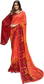 رداء نسائي كاجوال برتقالي هندي كاجوال طراز تقليدي تقليدي فاخر بلوزة ساري 6221