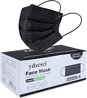 ydscsci 50Pcs Kids Disposable Face Masks 3 Layer Children Protective Face Mask for Boys Girls Indoor Outdoor, Black