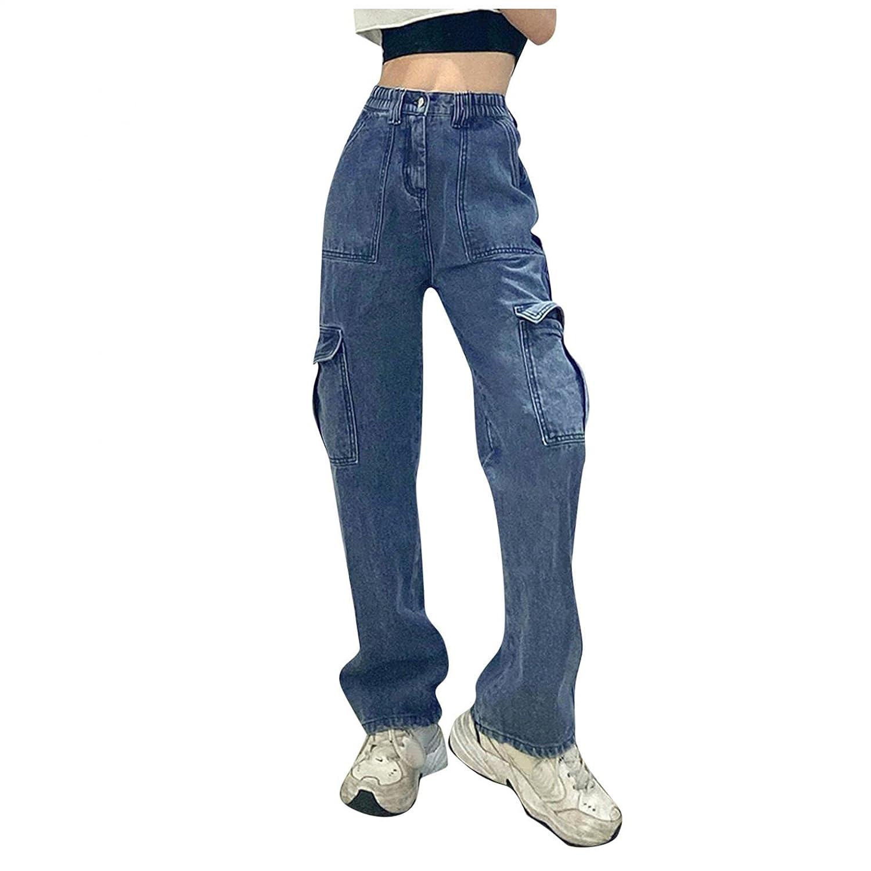 Padaleks Women's Button High Waist Trousers Casual Patchwark Pocket Baggy Wide Leg Denim Pants Girls Streetwear