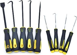 QISF Hook Pick Oil Seal Screwdriver Scrapers Set - 9 Pcs Hose Removal Hook Pick/Scraper, O-Ring Seal Puller Tool, Car Hand...