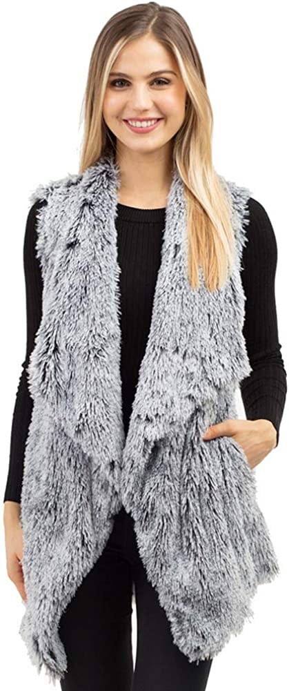 JINS CLOSET Women's Winter Faux Fur Basic Soft Brush Solid Color Cape Shawl Vest