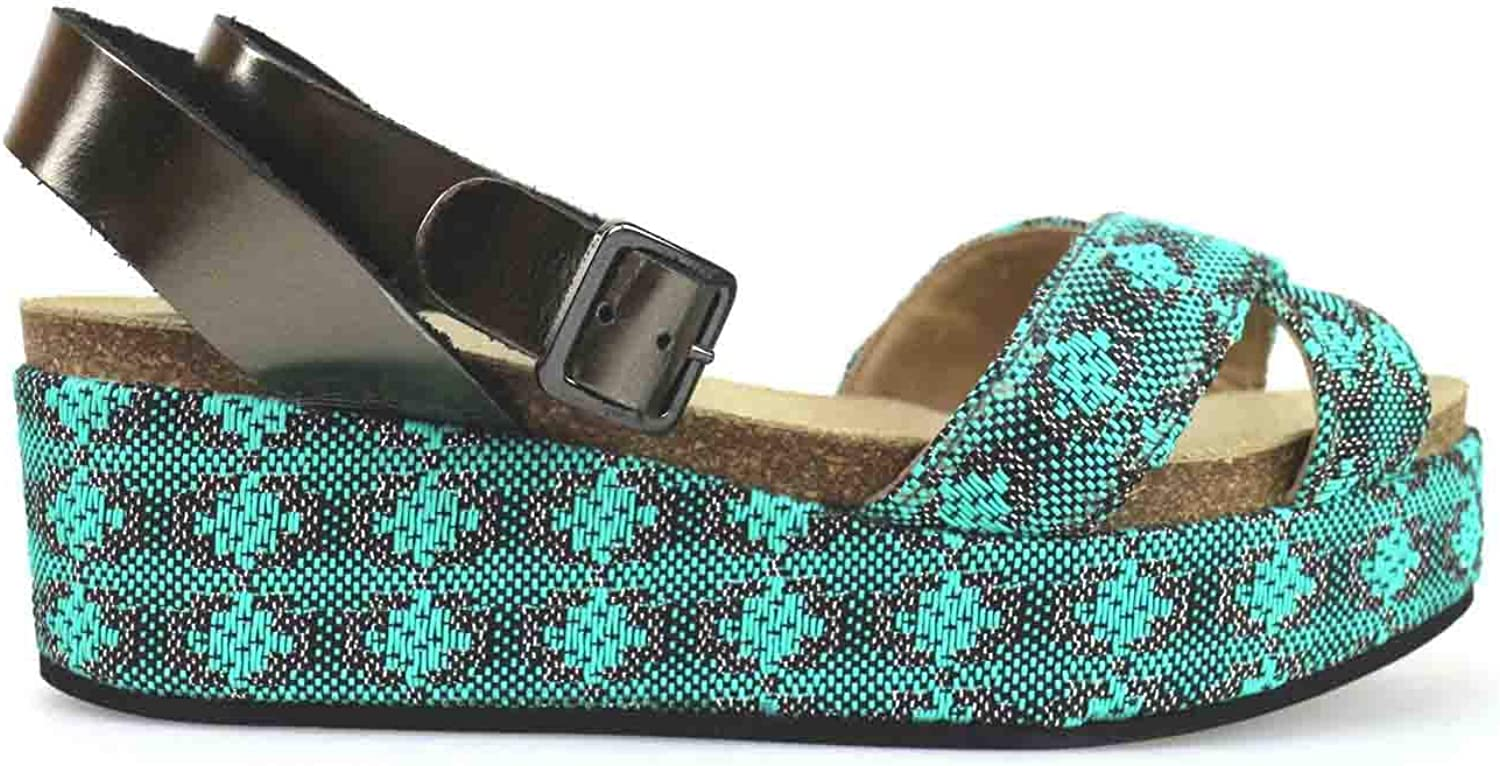 LOGAN Wedges-Sandals Womens Leather Green