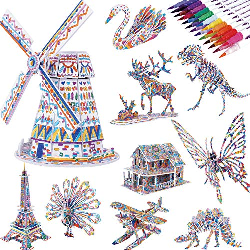 3D Coloring Puzzle Set, 10-Pack Puzzles with 24 Markers, Arts and Crafts for Girls and Boys Age 6 7 8 9 10 11 12 Year Old, Art Painting Crafts Kit with Supplies Best Toys Gifts for Kids
