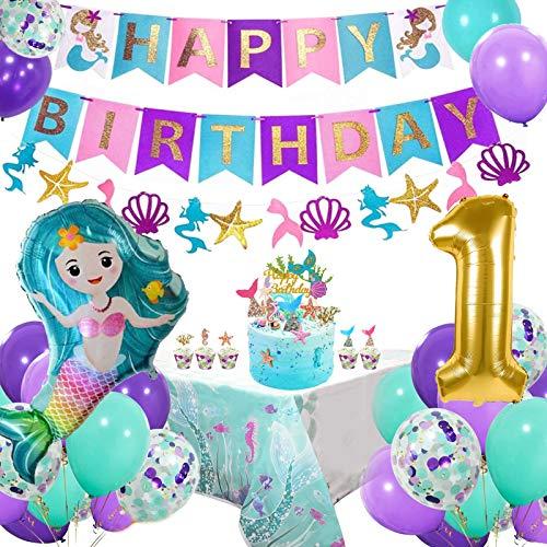 AYUQI 1. Geburtstag Meerjungfrau Party Dekorationen für Mädchen,Happy Birthday Banner Set mit Latex Luftballons Folie Ballon Tischdecke Party Zubehör für Deko 1 Geburtstag, erst Geburtstag Deko