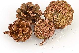 pommes de pin Marron à paillettes pour travaux manuels de Noël–Sachet de 90g