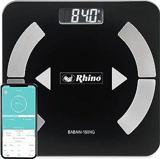 Rhino BABAIN-180 NG Bascula digital con bluetooth para el análisis de grasa corporal, 9 datos analizados, 24 usuarios y mo...