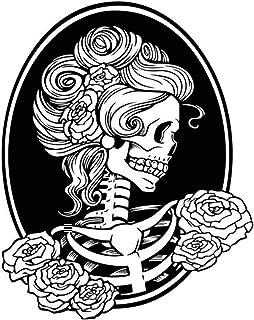 ManxiVoo Happy Halloween Femme Skeleton Skull Wall Decals Stickers for Kids Rooms Nursery Halloween Party Supplies (Black)