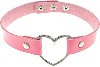 Pink Tassle Heart Ring Choker Tassle Choker Heart Ring Choker Necklace Pink Suede Leather and Heart Ring Choker