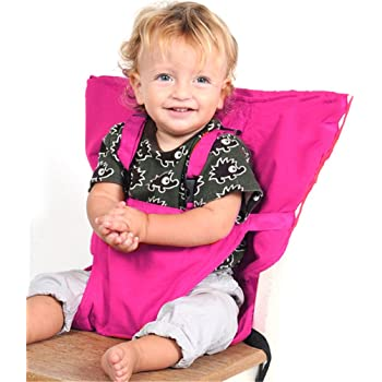 Pueri Baby High Chair Harness Feeding Booster Seat Strap Harness Belt Portable Travel Safety High Chair Seat Cover for Baby Kid Toddler (Rosy)