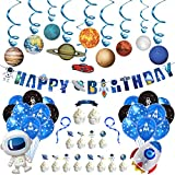 Rainmae Outer Space Solar System Party Decoration Set, Universe Space Themed Happy Birthday Banner Outer Space Whirls Hanging Swirl for Kids, Balloon, Banner, Cake Flag, Space, Solar System, Planets Baby Shower, Birthday Party Accessory & Decoration