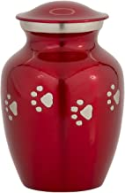 (Horizontal Paws, Red) - Enshrined Memorials Cremation Funeral Urn - Cerberus Series Quality Medium Pet Dog Cat Handcrafted Solid Brass Affordable for Ashes in Velvet Bag Engraving Design