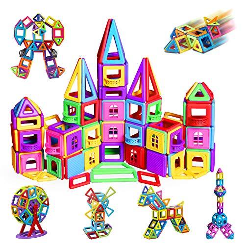Bloc de Construction Magnétique, 162Pièces Kits Mini Jeux de Construction Magnetique, Colorée avec Fenêtre Balcon Mur, Idéal Cadeau pour Bébé à Partir de 3, 4, 5, 6, 7 Ans