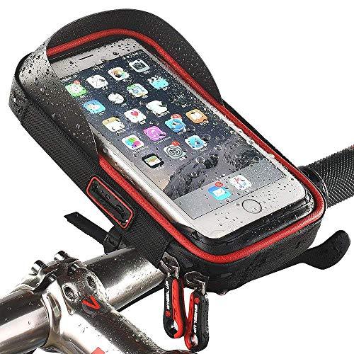 QiFun - Soporte de Bicicleta Impermeable para teléfono con Marco de Ciclismo Resistente al Agua DE 15,24 cm, Color Rojo, tamaño 6''