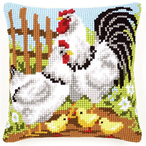 Vervaco Hühnerfamilie auf Bauernhorf Kreuzstichkissen/Stickkissen vorgedruckt, Baumwolle, Mehrfarbig, 40 x 40 x 0.3 cm