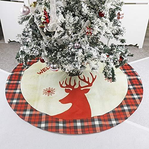 WYLJD Boże Narodzenie nowości dekoracje len włóknina włóknina mata pod choinkę fartuch drzewo ornament jeleń nadruk krata patchwork choinka spódnice