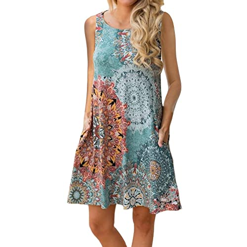 8b15f12989 ETCYY Women s Summer Casual Sleeveless Floral Printed Swing Dress Sundress  with Pockets