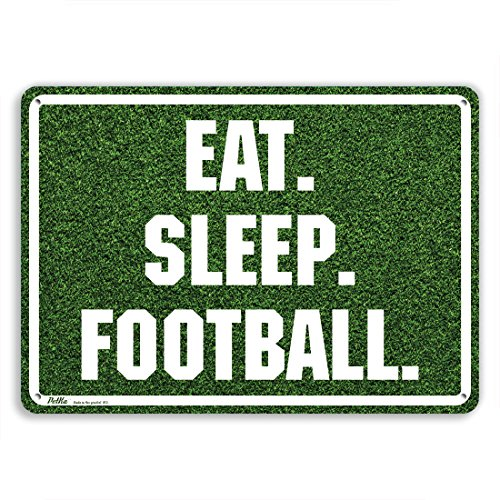 "PetKa Signs and Graphics PKFB-0026-NA_10x7""Eat. Sleep. Football."" Aluminum Sign, 10"" x 7"", White on Grass Photo"