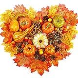 VASIN Zucca Artificiali, 50 Pezzi Decorazioni per Il Ringraziamento Halloween, Foglie di A...