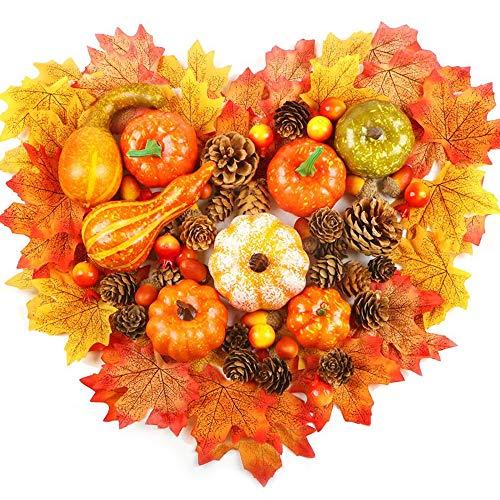 VASIN Halloween kürbis deko,86 Stück kürbis künstlich deko Herbst Mini kürbis deko, künstliche blätter, Tannenzapfen Blätter Eicheln Beeren Für Thanksgiving Halloween deko
