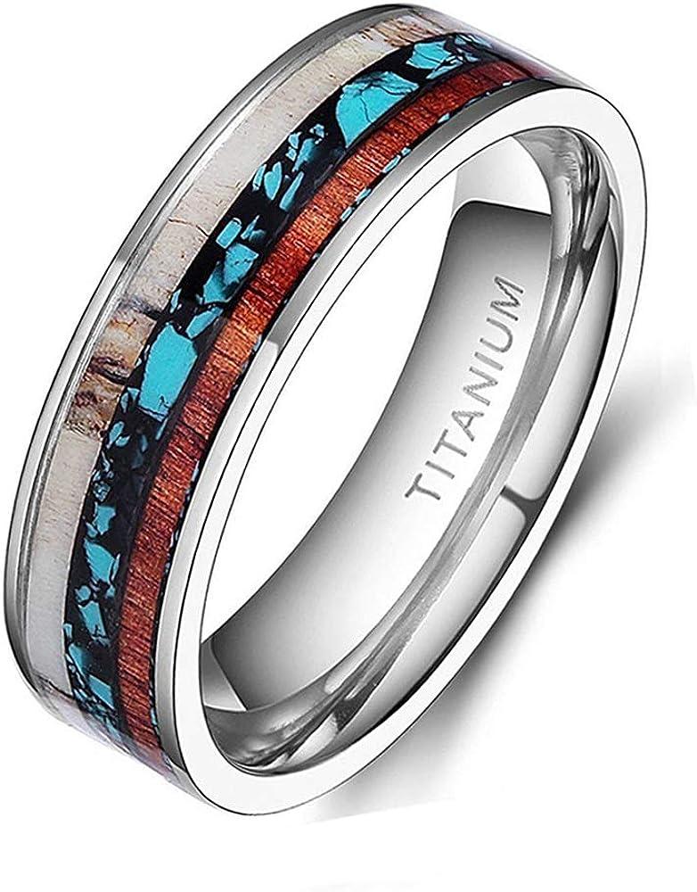 TIGRADE 6mm 8mm Deer Antlers Titanium Ring Turquoise Wood Inlaid Wedding Band