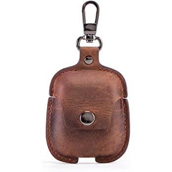 Contacts Genuine Leather AirPods Case Protective Cover Compatible with Apple AirPods 2 and 1 (Brown)