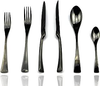 JASHII 18/10 Stainless Steel 24 Piece Mirror Polished Black Flatware Set,Dinner Knife Steak Knife Salad Fork Dessert Coffee Spoon,Service for 4 ,Black Utensil Sets