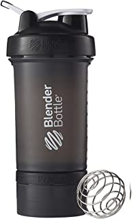 BlenderBottle ProStak System with 22-Ounce Bottle and Twist n' Lock Storage, Black/Black [並行輸入品]