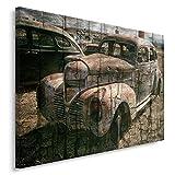 Feeby. Cuadro en lienzo - 1 Parte - 80x120 cm, Imagen impresión Pintura decoración Cuadros de una pieza, COCHE, AUTOMÓVIL, VINTAGE, MARRÓN