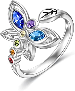 MISTBEE Dragonfly Rings 925 Sterling Silver 7 Stone Crystal Chakra Ring Yoga Healing Dragonfly Jewelry for Women