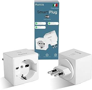 Presa Alexa Aunics Presa Smart, Italiana 2 Pezzi Compatibile con Alexa Amazon, Google Home, IFTTT, Presa Intelligente, Con...