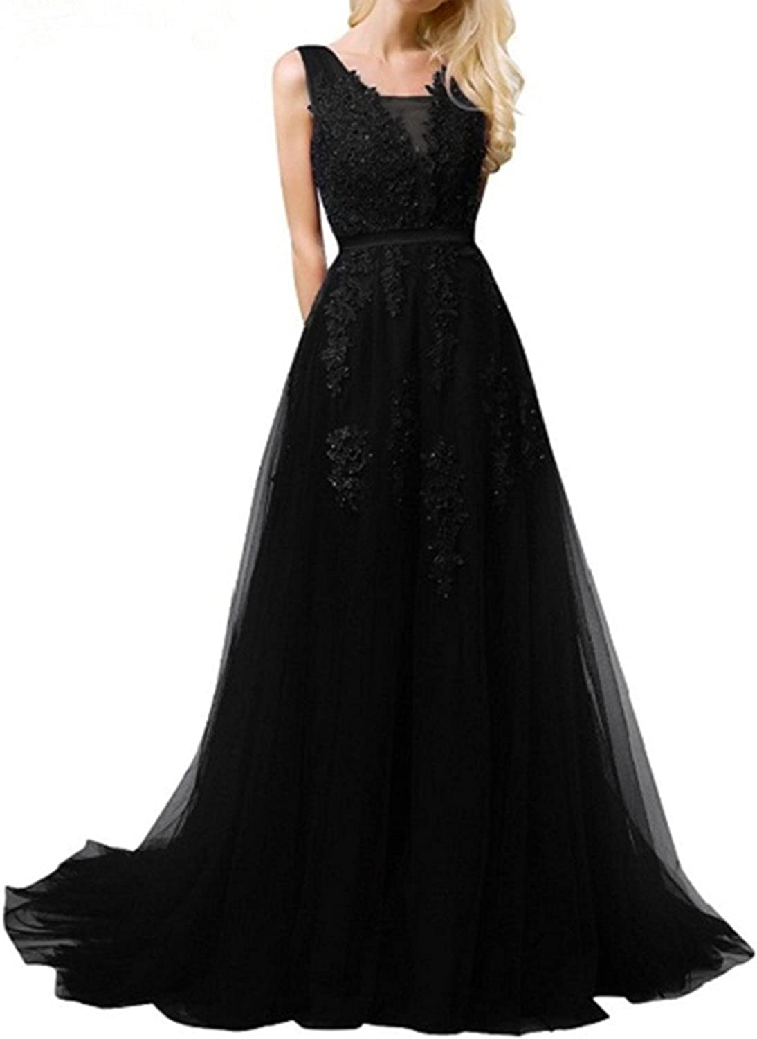 Liaoye Women's V Neck Lace Appliques Long Evening Dress Beaded Tulle Party Gown