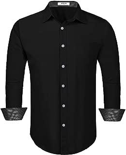 Aibrou Men's Long Sleeve Slim Fit Cotton Dress Shirt with Contrast Trim