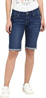 KVL Womens Cotton & Elastane Woven Regular Fit Solid Shorts - Blue
